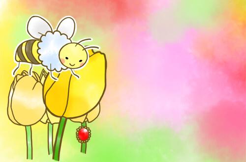 左の黄色い花にとまっているはち