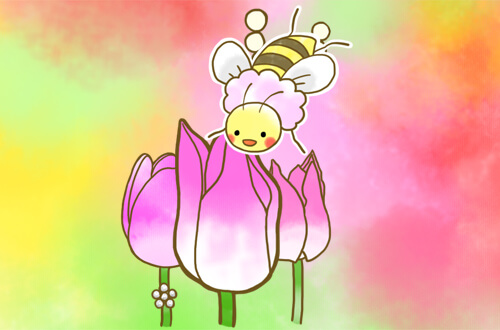 真ん中のピンクの花にとまっているはち