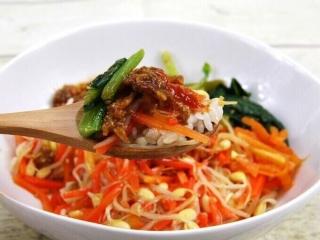 お皿に移した「1/2日分の野菜! 9種野菜の特製ビビンバ」のアップ画像