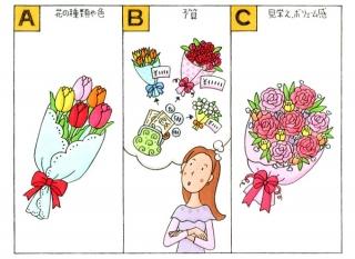 花束と女性のイラスト