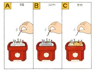 豆腐、こんにゃく、煮物の「針供養」のイラスト