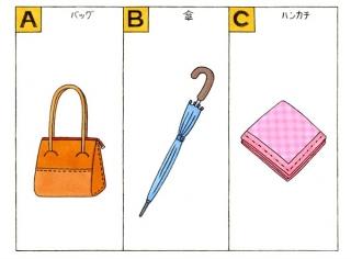バック、傘、ハンカチのイラスト