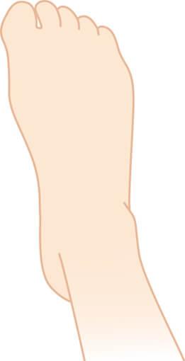 指が縮こまっている足