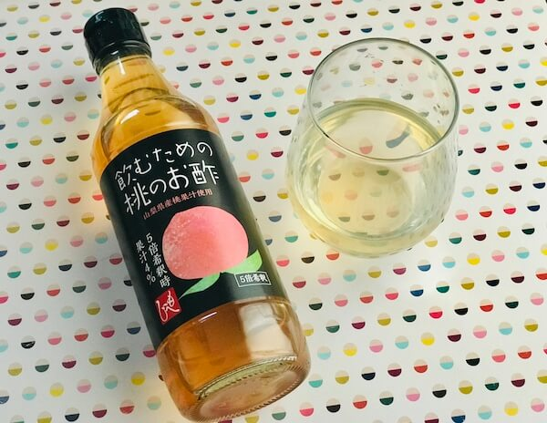 桃のお酢をお湯割りに