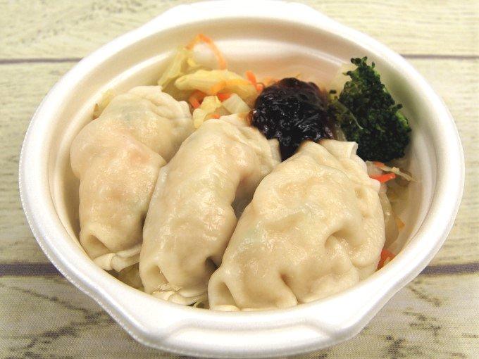 容器のふたを外した「野菜と食べる! 蒸しえび餃子(ゆずポン酢)」の画像