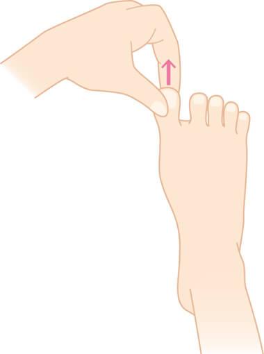 足指をつまんで引っ張る