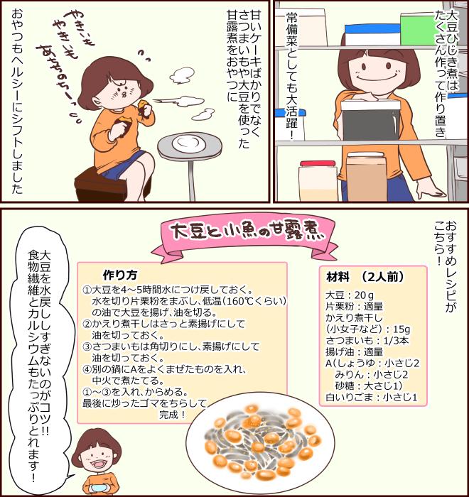 大豆ひじき煮はたくさん作って作り置き、常備菜としても大活躍!甘いケーキばかりでなく さつまいもや大豆を使った甘露煮をおやつに、おやつもヘルシーにシフトしました、おすすめレシピが こちら!大豆を水戻ししすぎないのがコツ!!食物繊維とカルシウムもたっぷりとれます! 材料(2人前)大豆:20g、片栗粉:適量、かえり煮干し(小女子など):15g、さつまいも:1/3本、揚げ油:適量、A(しょうゆ:小さじ2、みりん:小さじ2、砂糖:大さじ1)、白いりごま:小さじ1、作り方①大豆を4~5時間水につけ戻しておく。水を切り片栗粉をまぶし、低温(160℃くらい)の油で大豆を揚げ、油を切る。②かえり煮干しはさっと素揚げにして油を切っておく。③さつまいもは角切りにし、素揚げにして油を切っておく。④別の鍋にAをよくまぜたものを入れ、中火で煮たてる。①~③を入れ、からめる。最後に炒ったゴマをちらして完成!