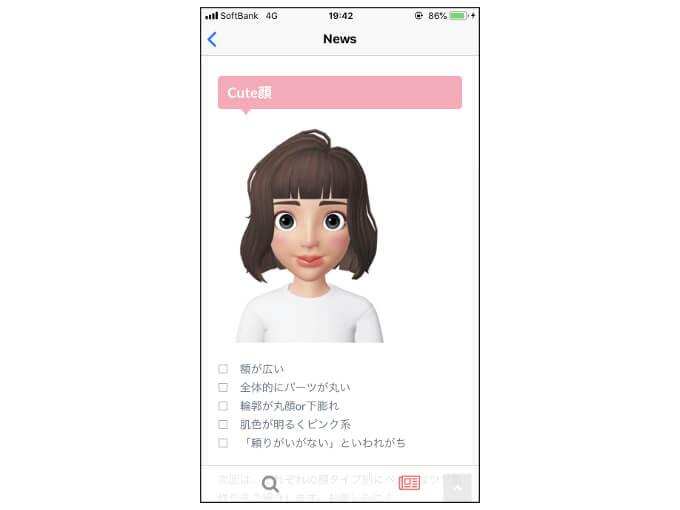 「Cute顔」の特徴を表示した画像