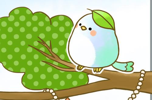 右の頭に葉っぱが乗った小鳥