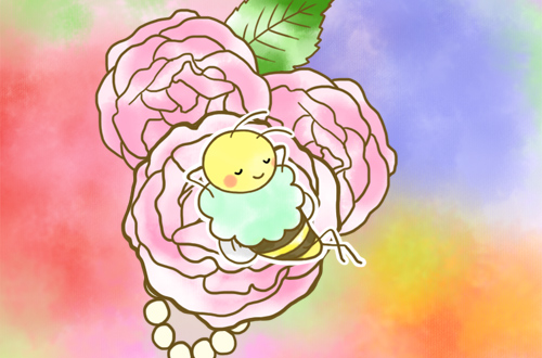 真ん中のピンクのバラにとまってるはち