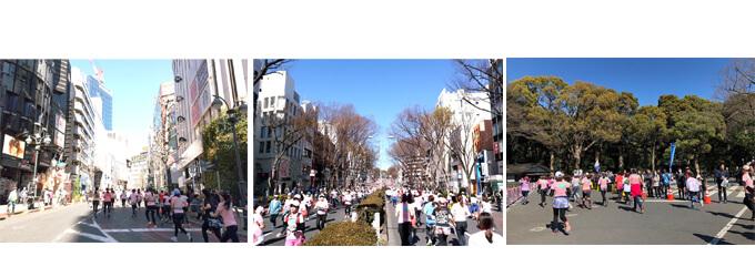 左 渋谷を走る 真ん中 表参道を走る 右 明治神宮を走る