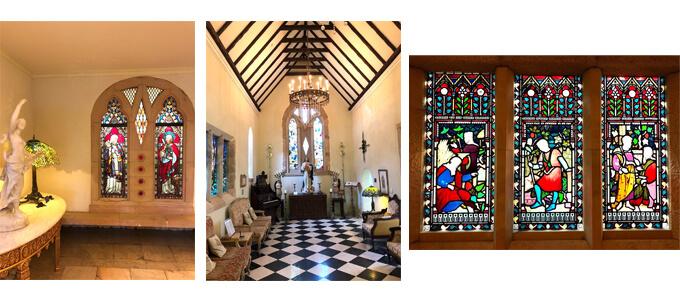 右 アンティックステンドグラス 真ん中 開放感のある部屋 左 アンティックステンドグラス