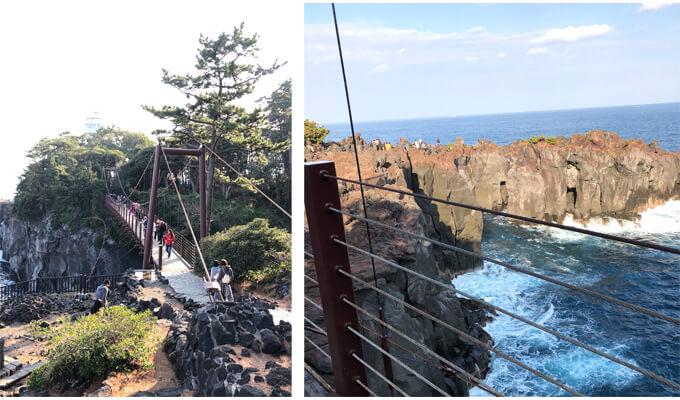 右 門脇吊橋 左 門脇吊橋を渡っている海の景色