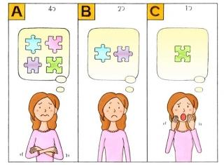 パズルのピースと女性のイラスト