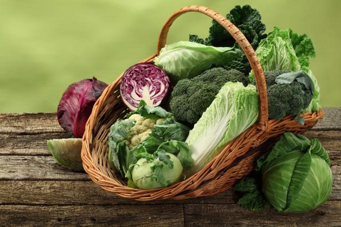 キャベツなどの春野菜がかごに盛られている