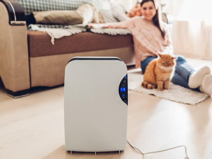 部屋の中にある空気清浄機と女の子と猫