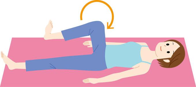 寝姿勢で片脚をあげ、股関節を外回しする