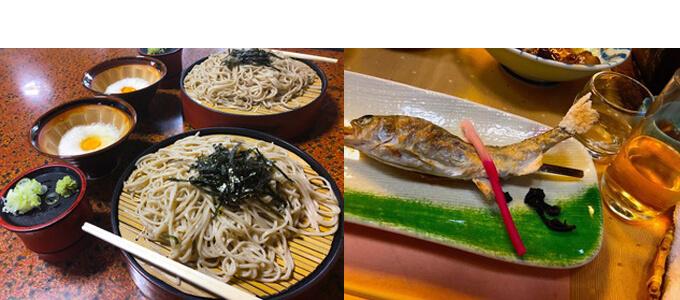 左 お蕎麦 右 川魚