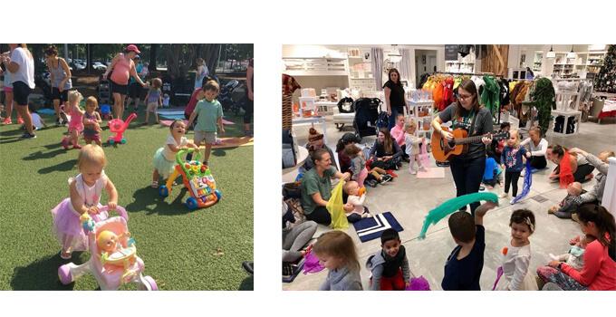 左 赤ちゃんがミニベビーカーを押している 右 ギターを弾いている女性の周りに子どもたち