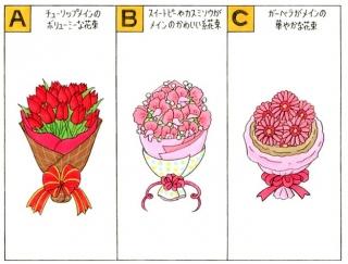 【心理テスト】友人からお祝いにもらった花束は、次のうちどれ?