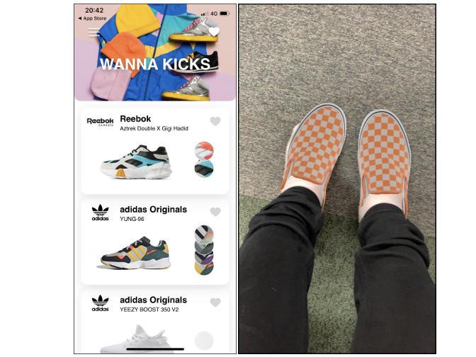 靴を持っている女性の画像