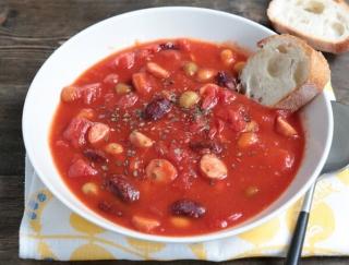 電子レンジで簡単!エダジュンの「ソーセージのお豆ミネストローネ」#缶詰レシピ