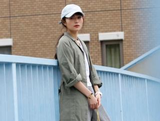 縦長シルエットと淡い配色が上品♡ スポーティファッション