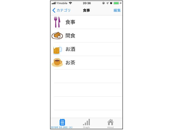 食事の分類を選択する画像