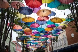 傘が空につられている画像