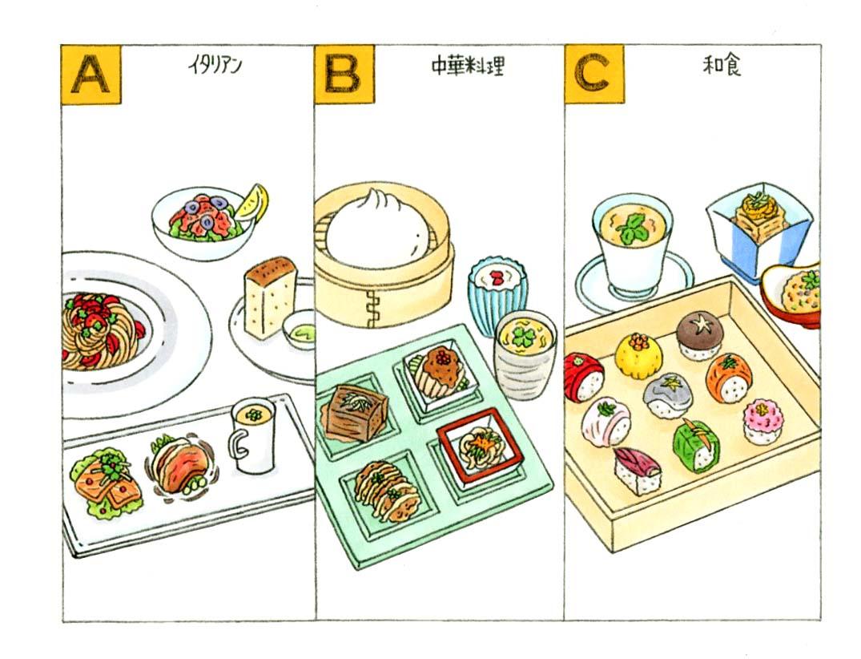 イタリアン、中華、和食の料理のイラスト