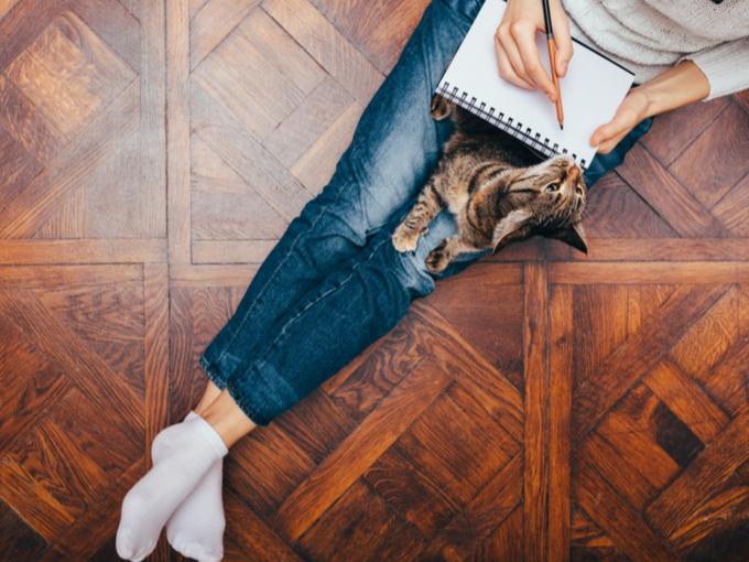 日記を書く女性の手もととねこ