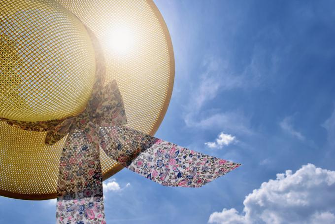 日差しに透けた麦わら帽子の画像