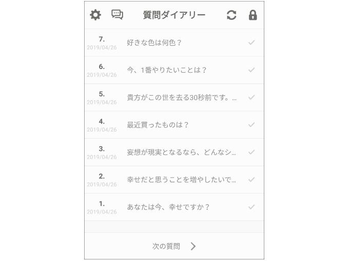 質問が7つ表示された画像