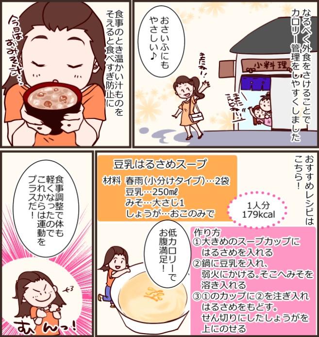 なるべく外食をさけることでカロリー管理をしやすくしました。おさいふにもやさしい♪食事のとき温かい汁ものをそえると食べすぎ防止に。おすすめレシピはこちら!豆乳はるさめスープ、材料、春雨(小分けタイプ)…2袋、豆乳…250㎖、みそ…大さじ1、しょうが…おこのみで。作り方、①大きめのスープカップにはるさめを入れる。②鍋に豆乳を入れ、  弱火にかける。そこへみそを溶き入れる。③①のカップに②を注ぎ入れはるさめをもどす。せん切りにしたしょうがを上にのせる1人分179kcal、低カロリーでお腹満足!食事調整で体も軽くなったのでこれからは運動をプラスだ!