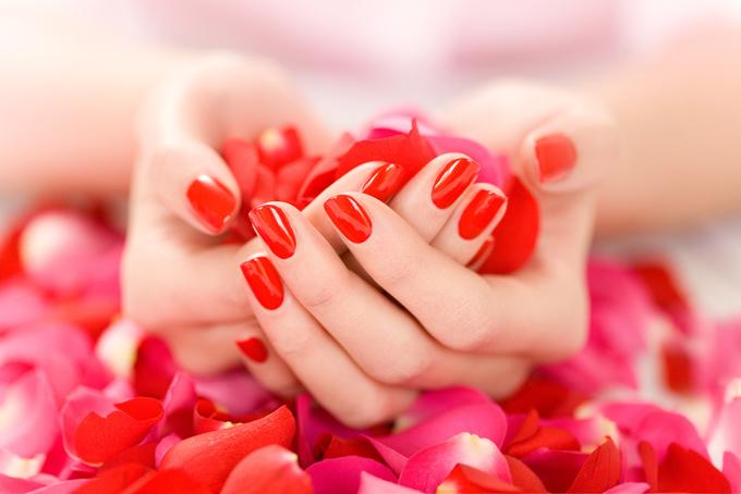 赤い花びらを手のひらいっぱいに持っている