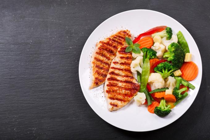 鶏のグリルと温野菜
