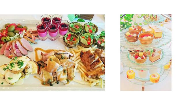 チキン、ポテト、カナッペなどの写真/アフタヌーンティーセットの写真