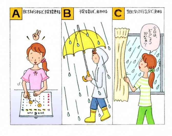 女性がカレンダーを眺めている、傘を刺している、窓の外をみているイラスト