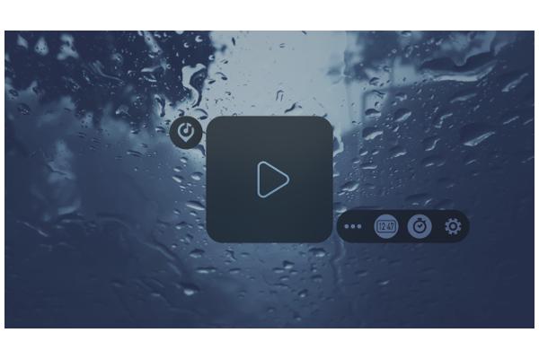ヒーリングサウンドの再生ボタンが表示されたトップ画面