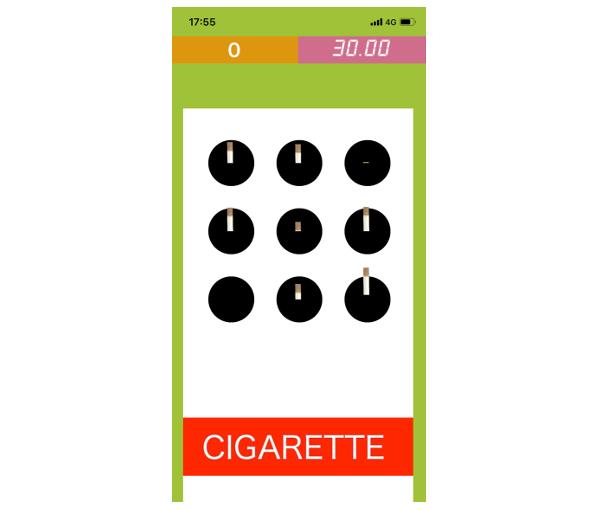 タバコ叩きゲームを表示した画像