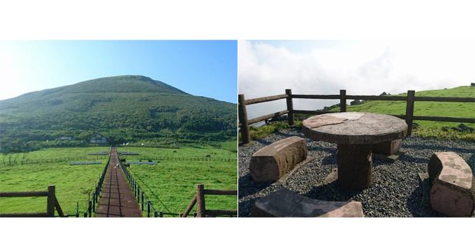 八丈富士の写真、木のテーブルとイスの写真