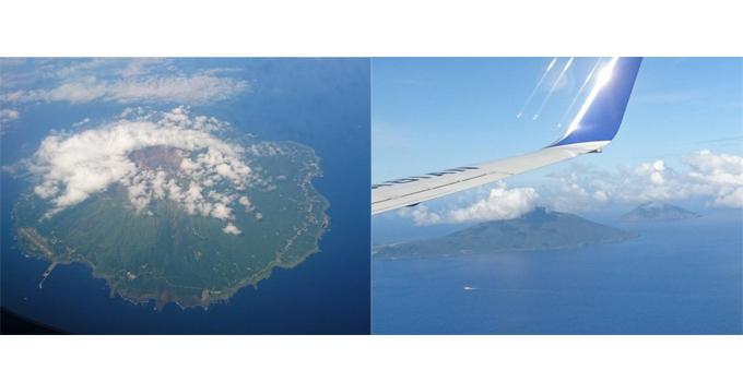 三宅島と、飛行機の窓から見た八丈島