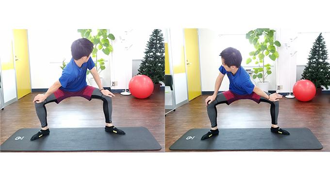 左 四股ポーズから右肩を中に入れる 右 四股ポーズから左肩からを中に入れる