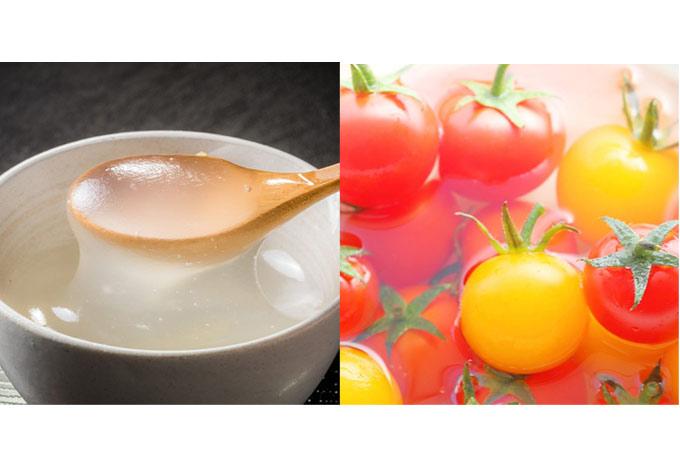 くず湯(左)とミニトマト(右)