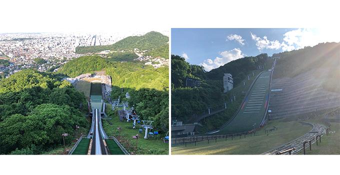 右 北海道の大倉山上から見た 左 北海道の大倉山下から見た