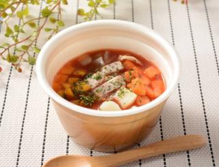 トマトの酸味が際立つ! 野菜がゴロっと入ったローソンの「6種具材のミネストローネ」