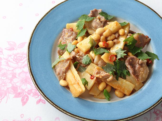 酢大豆と豚肉、長いもの辛みそ炒め