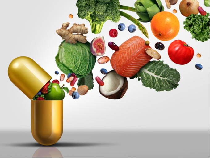 ビタミンなどの栄養素を表現したイメージイラスト