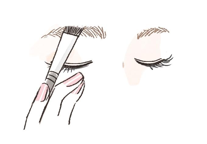 右眉を整えている女性の顔・上半分イラスト
