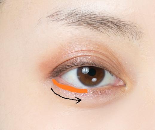 女性の右目もとの画像(下まぶたにオレンジの囲みと、下に黒い矢印あり)